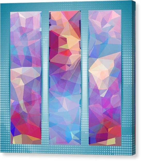 Polygon Abstract In 3 Frames Canvas Print