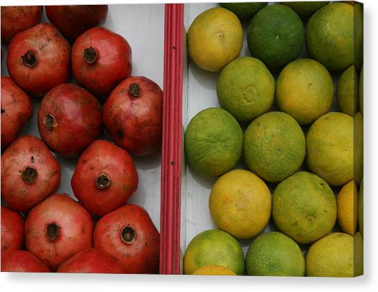 Pomegranate And Sweet Lime Canvas Print by Deepak Pawar