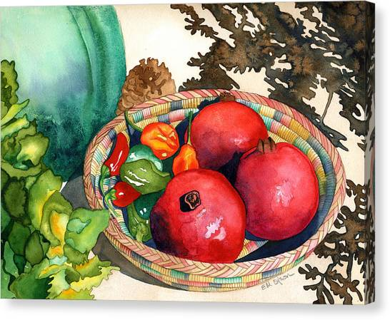 Pomegranates And Basket Canvas Print by Eunice Olson