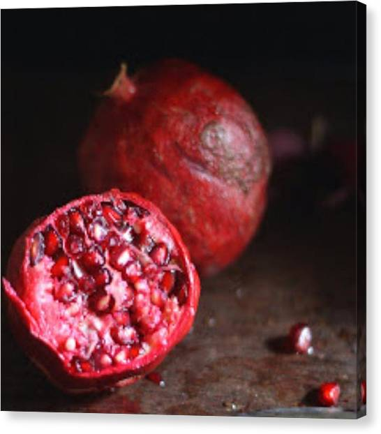 Pom-pom Canvas Print - Pomegranates... #foodphotography by Swayampurna Mishra Singh