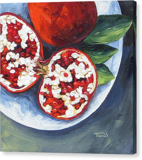 Pomegranates On A Plate  Canvas Print by Torrie Smiley