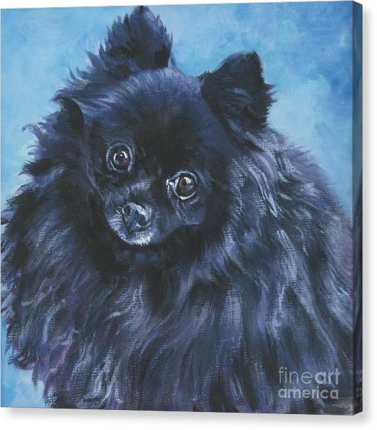 Pomeranians Canvas Print - Pomeranian Black by Lee Ann Shepard