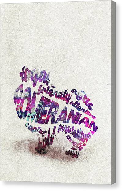 Pomeranians Canvas Print - Pomeranian Dog Watercolor Painting / Typographic Art by Inspirowl Design