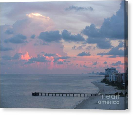 Pompano Pier At Sunset Canvas Print