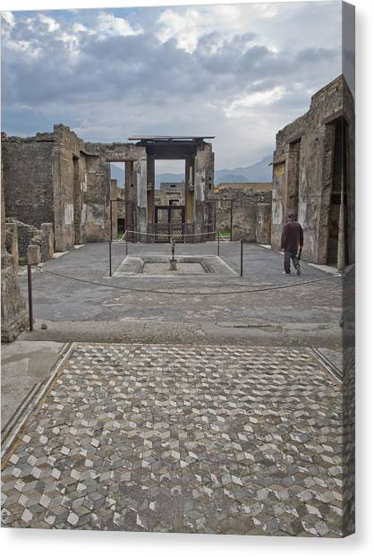 Pompeii View With Mosaic Canvas Print