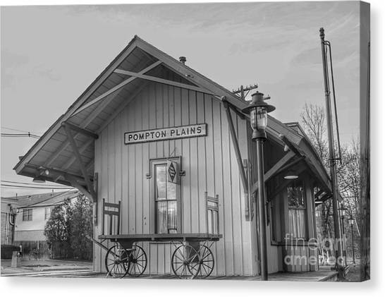 Pompton Plains Railroad Station And Baggage Cart Canvas Print