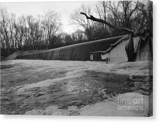 Falling Water On The Pompton Spillway In Winter Canvas Print