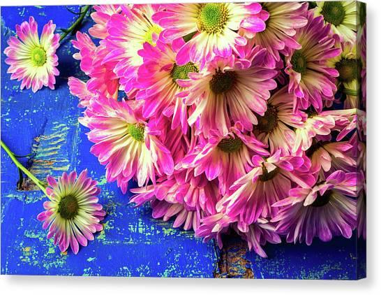 Pom-pom Canvas Print - Poms On Blue Table by Garry Gay