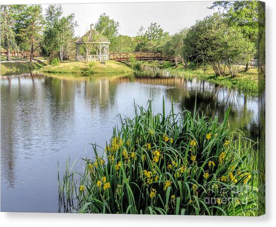 Pond And Gazebo At Cordage Park   Canvas Print by Janice Drew