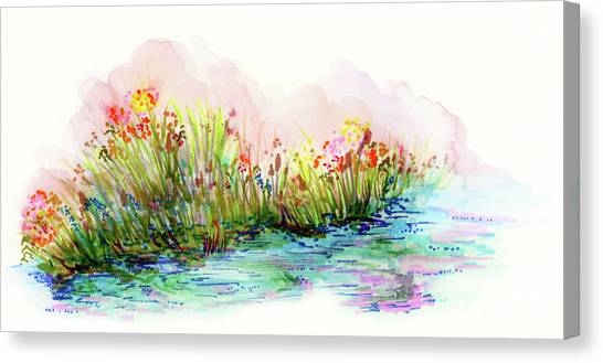 Canvas Print featuring the painting Sunrise Pond by Lauren Heller