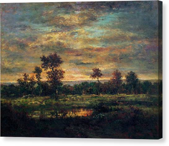 67 Canvas Print - Pond At The Edge Of A Wood by Theodore Rousseau