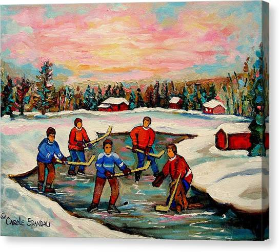 Afterschool Hockey Montreal Canvas Print - Pond Hockey Countryscene by Carole Spandau