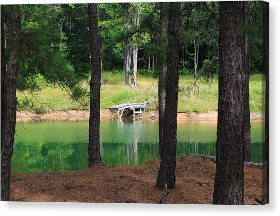 Pond Side Dock Canvas Print