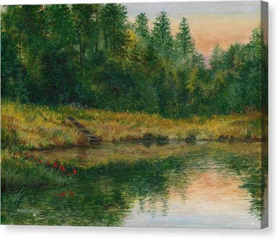 Pond With Spider Lilies Canvas Print