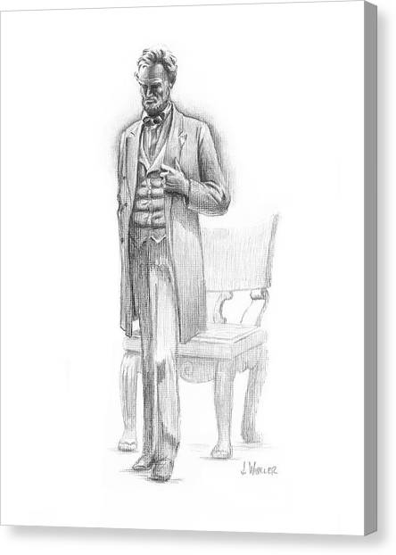Canvas Print featuring the drawing Pondering Lincoln by Joe Winkler