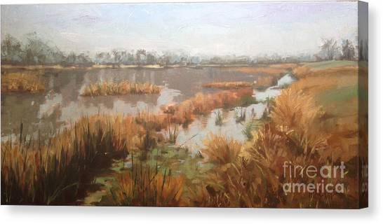Pondering On A Pond Canvas Print