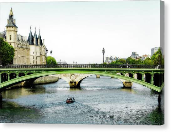 Pont Au Change Over The Seine River In Paris Canvas Print