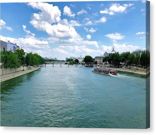 River Seine At Pont Du Carrousel Canvas Print
