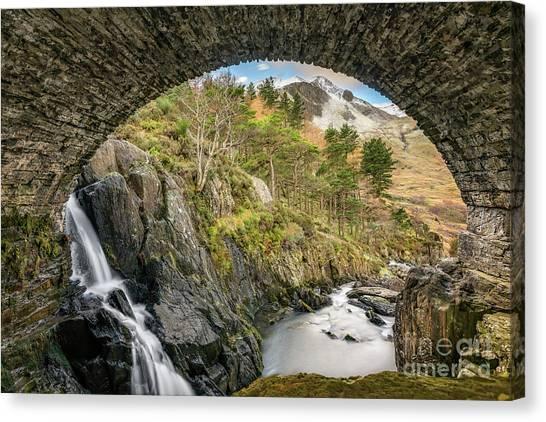 Snow Bank Canvas Print - Pont Pen Y Benglog Bridge Snowdonia by Adrian Evans