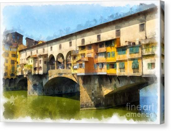 Famous Places Canvas Print - Ponte Vecchio Florence Italy by Edward Fielding