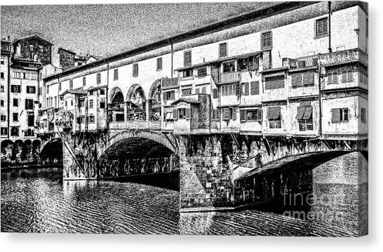 Famous Places Canvas Print - Ponte Vecchio Florence Sketch by Edward Fielding