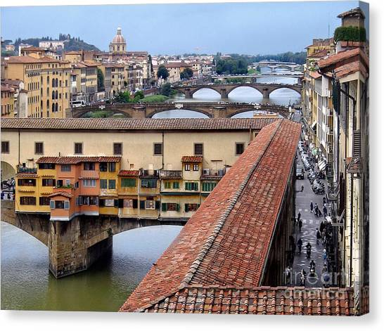 The Uffizi Gallery Canvas Print - Ponte Vecchio From Uffizi                by Jennie Breeze