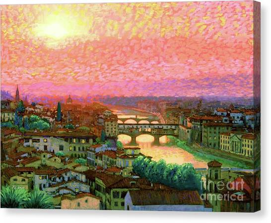 Medieval Art Canvas Print - Ponte Vecchio Sunset Florence by Jane Small