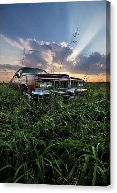 Old Country Roads Canvas Print - Pontiac Sunset  by Aaron J Groen