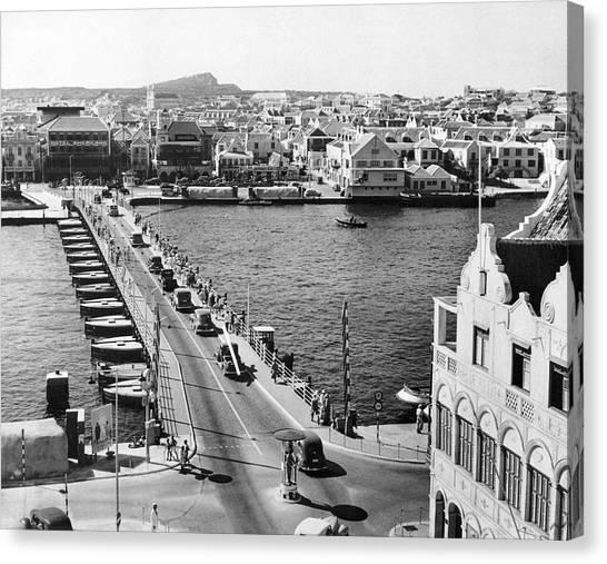 Pontoon Canvas Print - Pontoon Bridge In Curacao by Underwood Archives