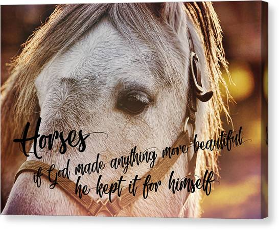 Pony At Sunset Quote Canvas Print