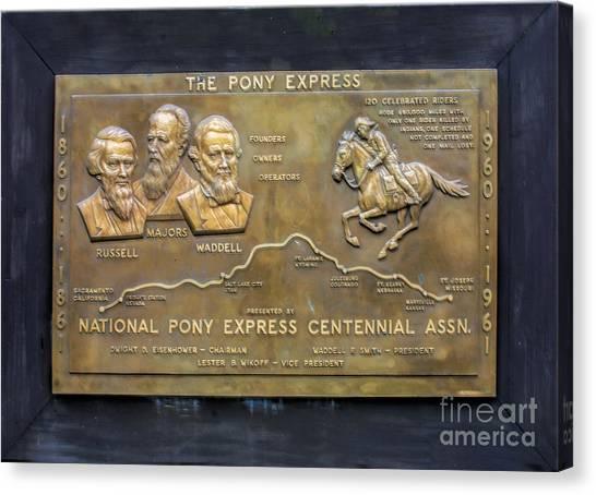 Pony Express Brass Plaque Canvas Print