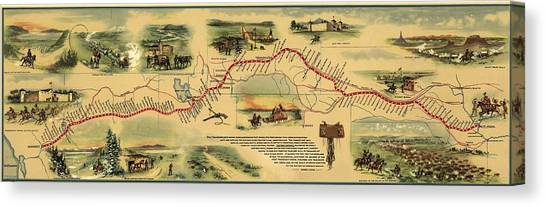 Sacramento State Canvas Print - Pony Express Route April 1860 - October by Everett