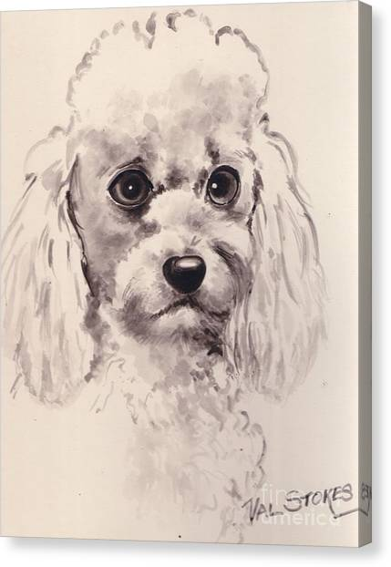 Poodlepup Canvas Print by Val Stokes