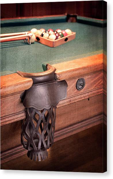 Pool Table Leather Mesh Side Pocket Canvas Print