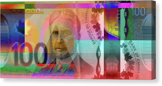 Pop-art Colorized New One Hundred Canadian Dollar Bill Canvas Print