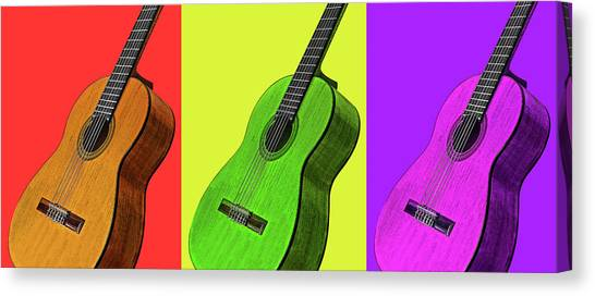Classical Guitars Canvas Print - Pop Art Guitars Panoramic by Gill Billington