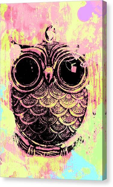 Dye Canvas Print - Pop Art Owl Watercolour by Jorgo Photography - Wall Art Gallery