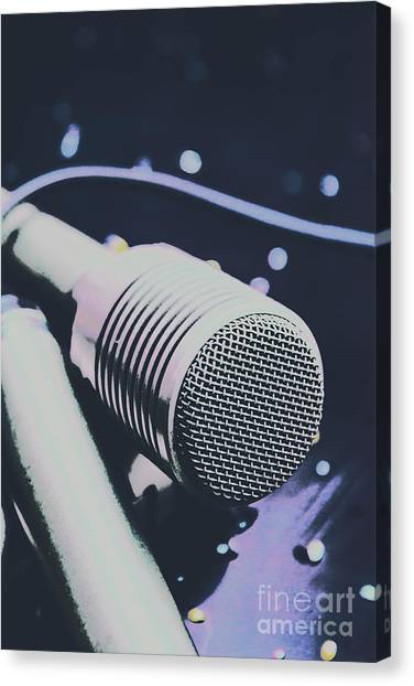 Microphones Canvas Print - Pop Art Performance In Disco Blues by Jorgo Photography - Wall Art Gallery