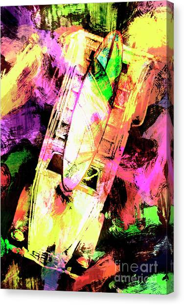 Surfboard Canvas Print - Pop Art Surf Cars And Painted Waves by Jorgo Photography - Wall Art Gallery