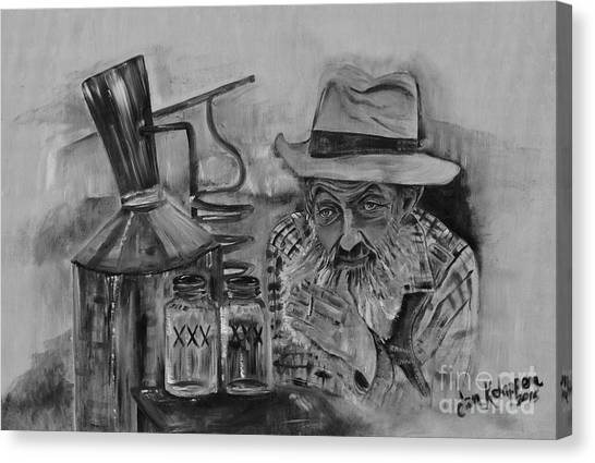 Popcorn Sutton - Black And White - Waiting On Shine Canvas Print