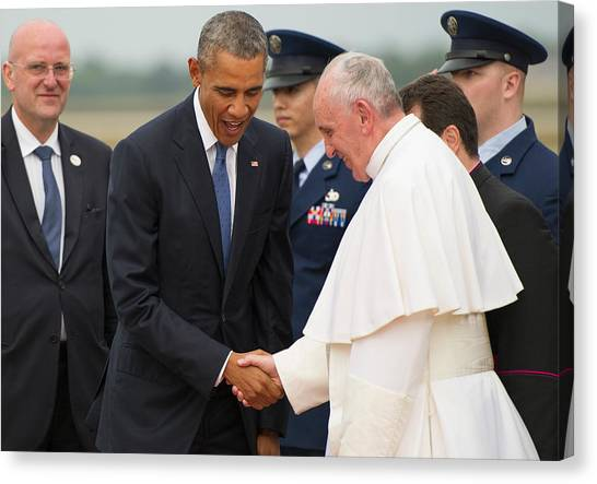 Barack Obama Canvas Print - Pope Francis And President Obama by Mountain Dreams