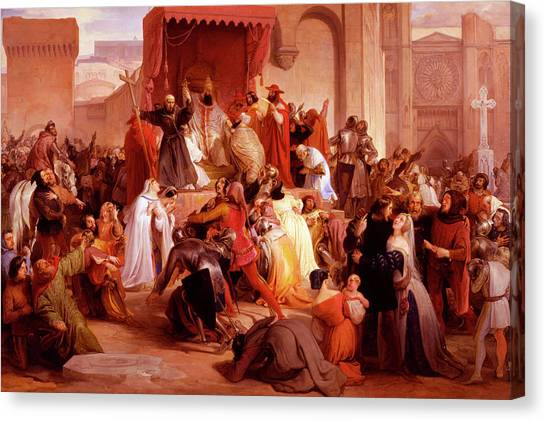 Byzantine Canvas Print - Pope Urban II Preaching The First Crusade In The Square Of Clermont by Francesco Hayez