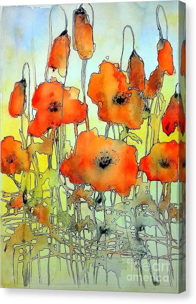 Wind Farms Canvas Print - Poppies Abstraction by Suzann's Art