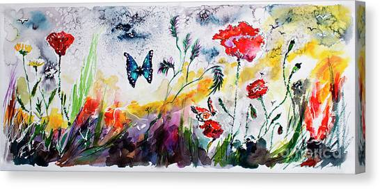 Poppies And Butterflies Whimsical French Garden Canvas Print
