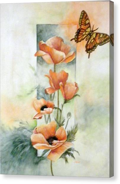Poppies And Butterfly Canvas Print