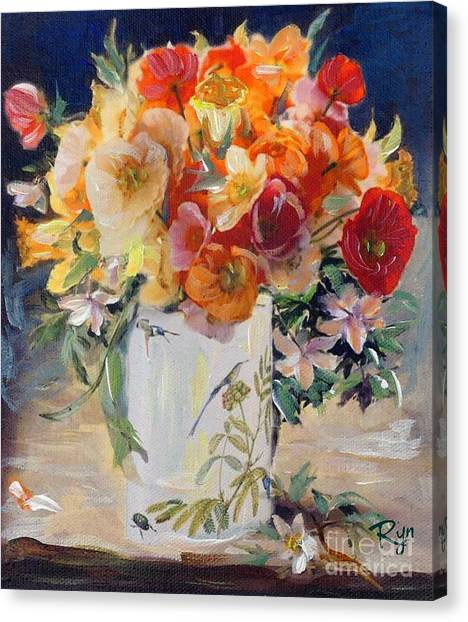 Poppies, Clematis, And Daffodils In Porcelain Vase. Canvas Print