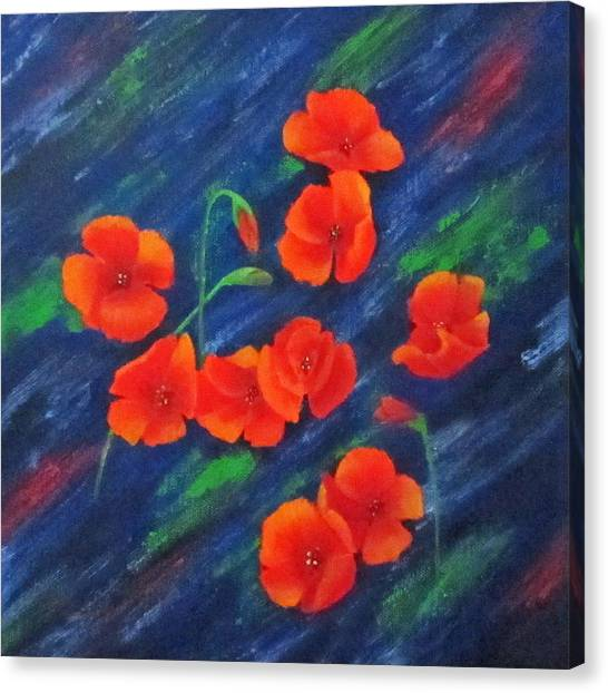 Poppies In Abstract Canvas Print