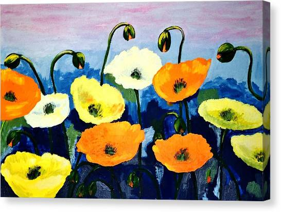 Poppies In Colour Canvas Print