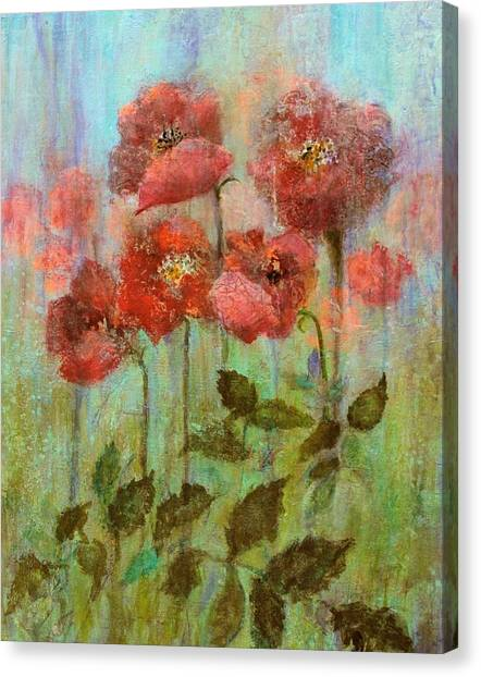 Poppies In Pastel Watercolour Canvas Print