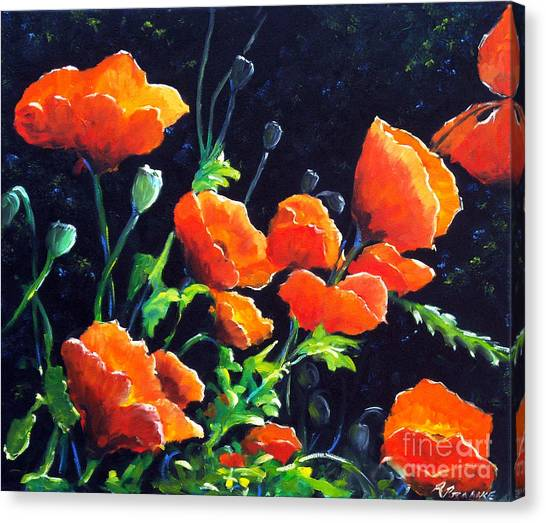 Night Shirt Canvas Print - Poppies In The Light by Richard T Pranke